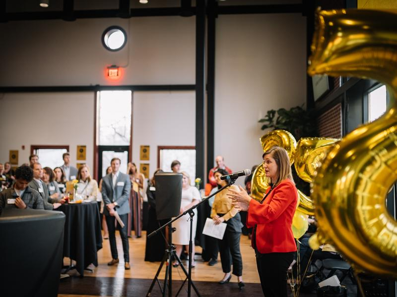 Salt Lake County Mayor Jenny Wilson spoke to the audience, expressing the importance of continued support for refugee resettlement and the International Rescue Committee