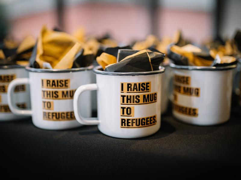 Enamel mugs were given to guests at the International Rescue Committee in Salt Lake City's Journey to the Wasatch