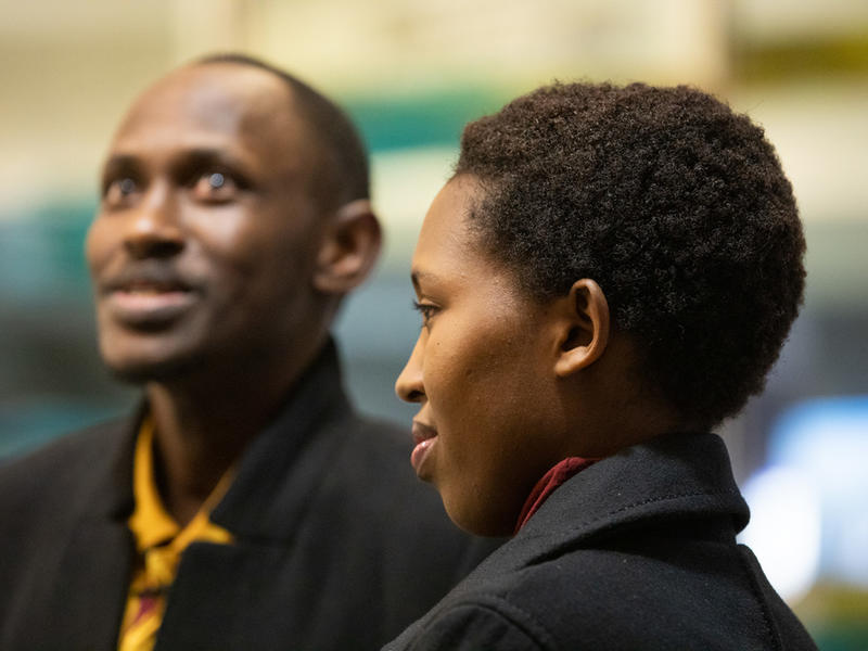 Nadine, a refugee from the Democratic Republic of Congo, awaits her parents and siblings' arrival at Boise Airport.