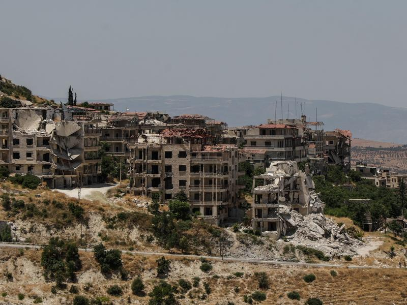Destroyed buildings in Ariha, a city in Idlib province