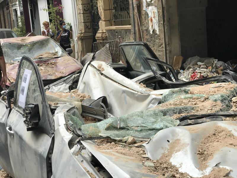 Cars crushed by falling debris during the Aug. 4, 2020 Beirut explosion