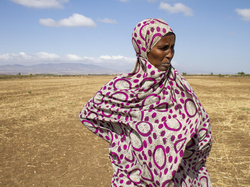 An elderly woman, hands at her hips, stands in a parched field in Ethiopia looking into the distance.