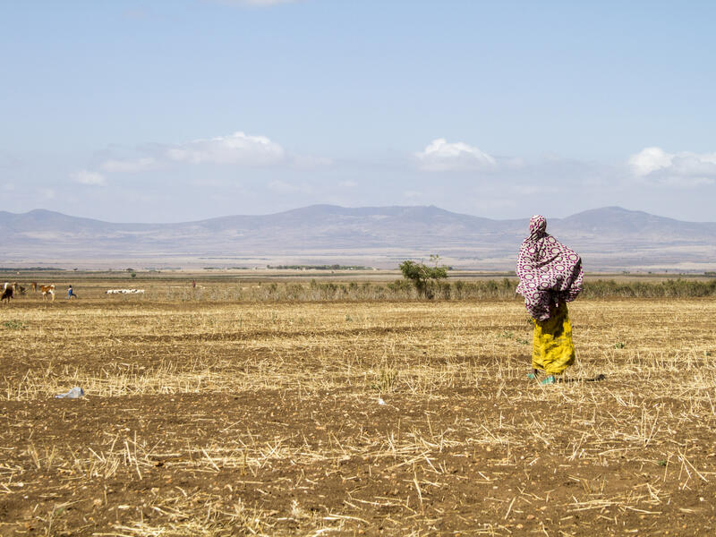 A woman stands in a parched field in Ethiopia with mountains in the distance.