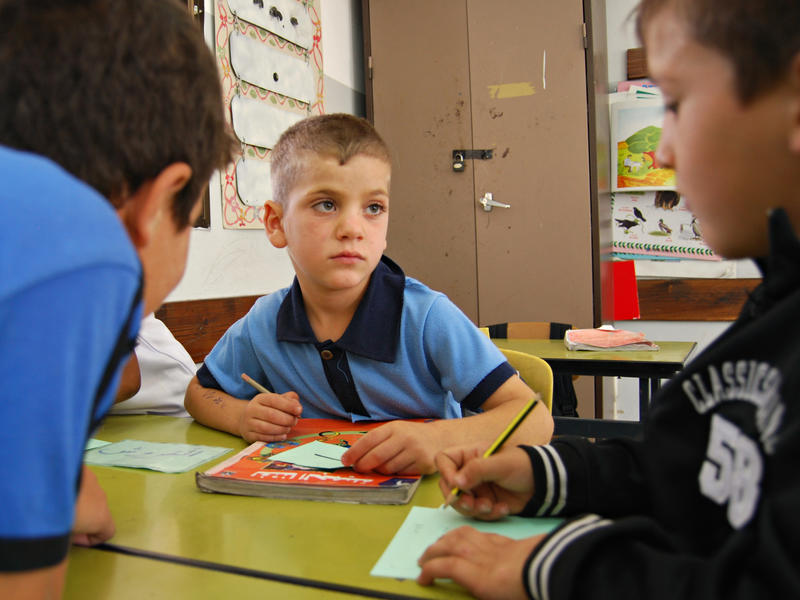 Refugee boy at IRC healing classroom West Bank