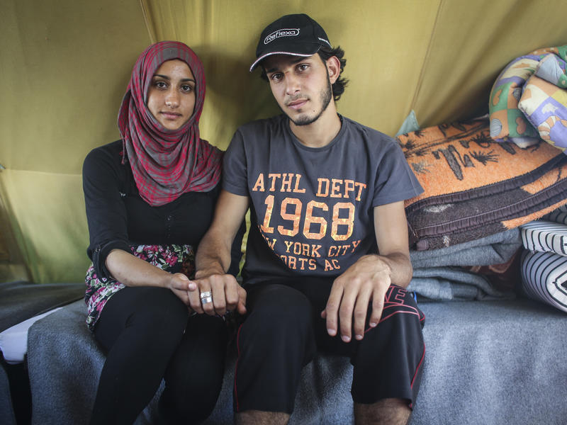 Engaged Syrian couple in the Alexandria refugee camp