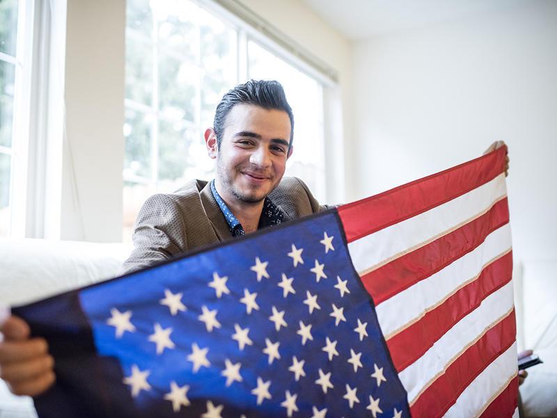 Mohamed Bazara at his apartment in Tukwila, Washington
