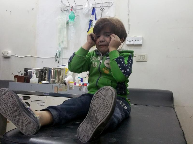 A child gets treatment at a hospital after a suspected chemical gas attack on April 4 in the town of Khan Shaykhun