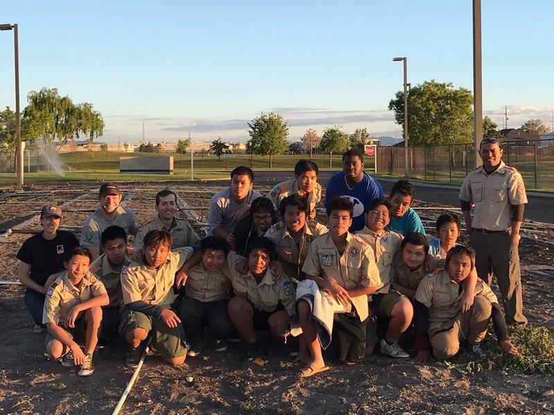 Karen/Karenni Boy Scout Troop of Utah at the New Roots Central Valley Garden