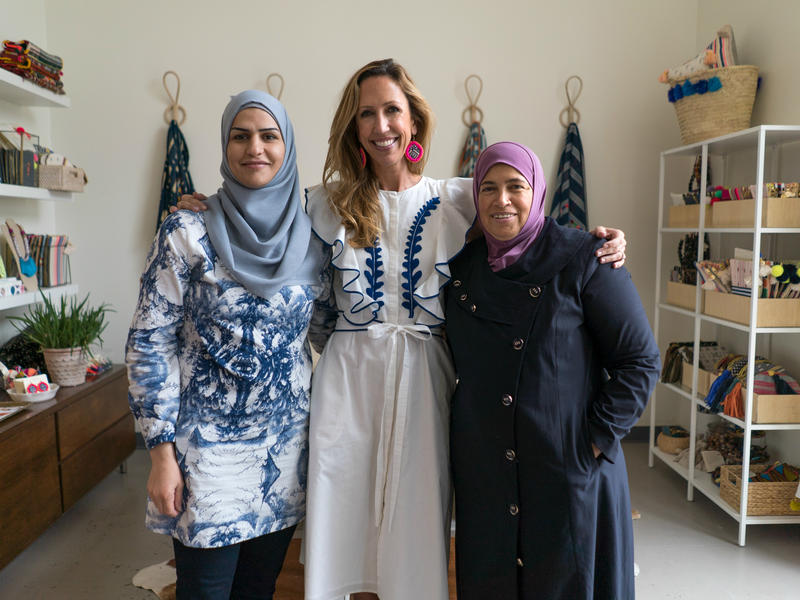 Refugee artisans Bothina and Huda with with founder Paula Minnis at Gaia Empowered Women in Dallas, Texas