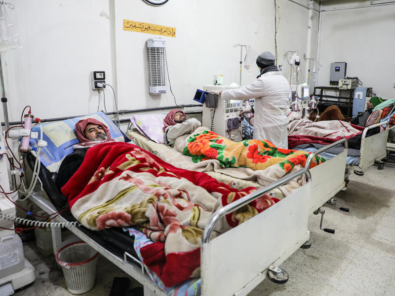 Patients with kidney failure receive treatment at a hospital in Eastern Ghouta