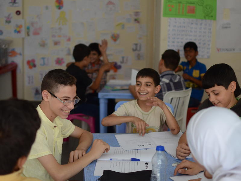 Syrian children and youth in a classroom in Lebanon