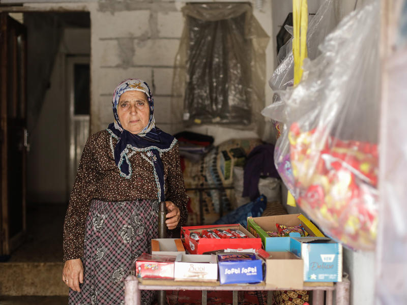 70-year-old Mariam lives in Idlib where she sells sweets and biscuits.