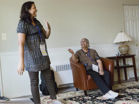 A  refugee mother and daughter from Pakistan take in their new, furnished apartment