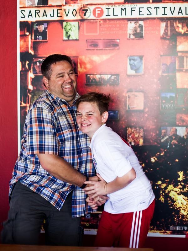 Enes with his teenage son Ismet.