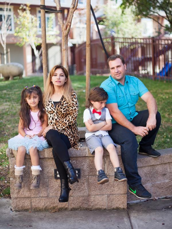 The Alobaidi family outside their home in Oakland.