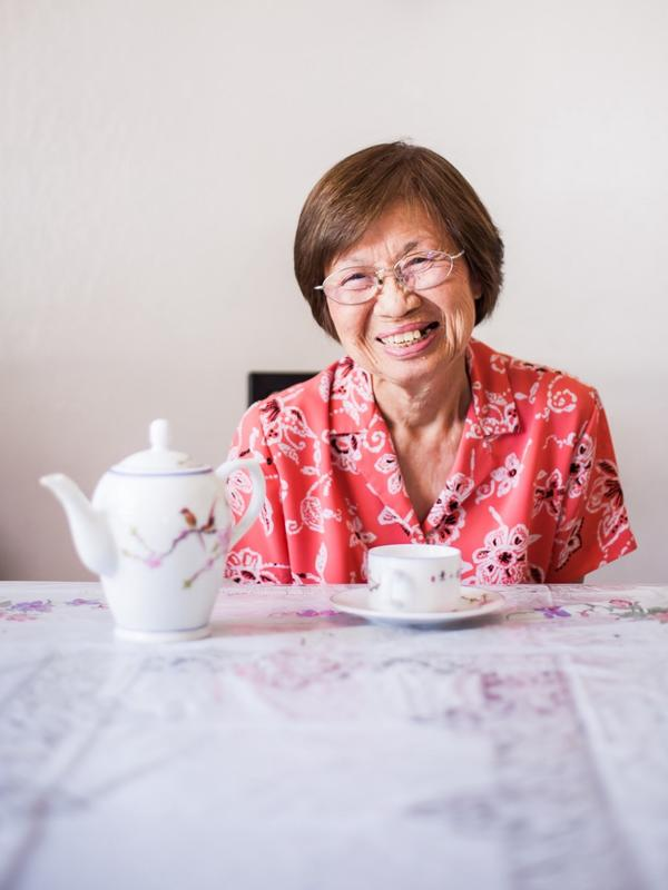 Lieu Thi Dang from Vietnam sits down for a cup of tea