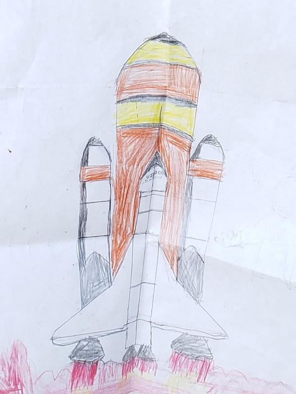 A drawing of a Space Shuttle rocket launch.