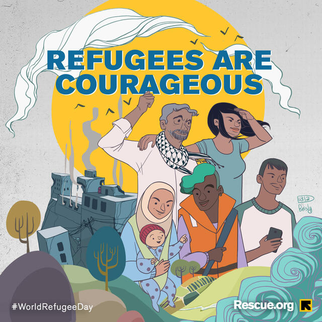 An illustration of five men and women of different ages and cultures, including a baby, an older woman with a hijab and a young man with hair dyed blue. There is destruction behind them and they are looking forward with images of waves ahead of them.