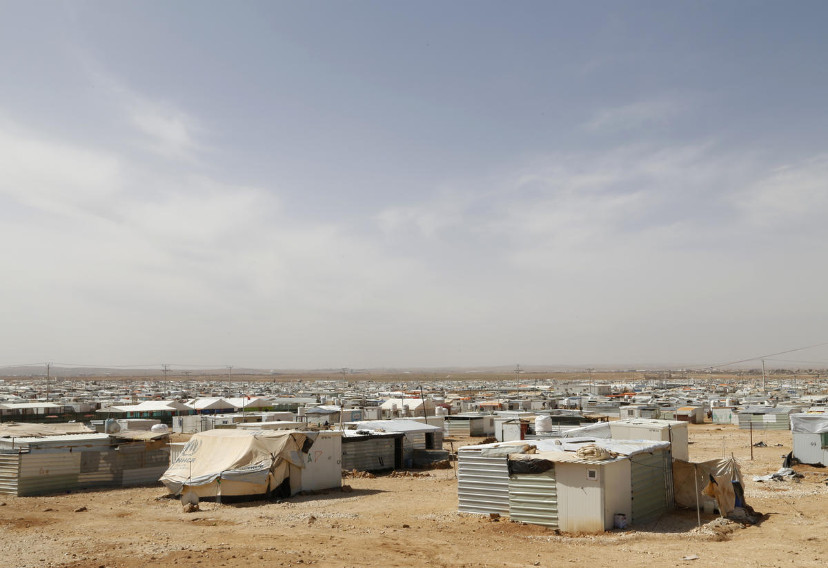 Wide angle view of the trailers and tents of Zaatari camp in Jordan