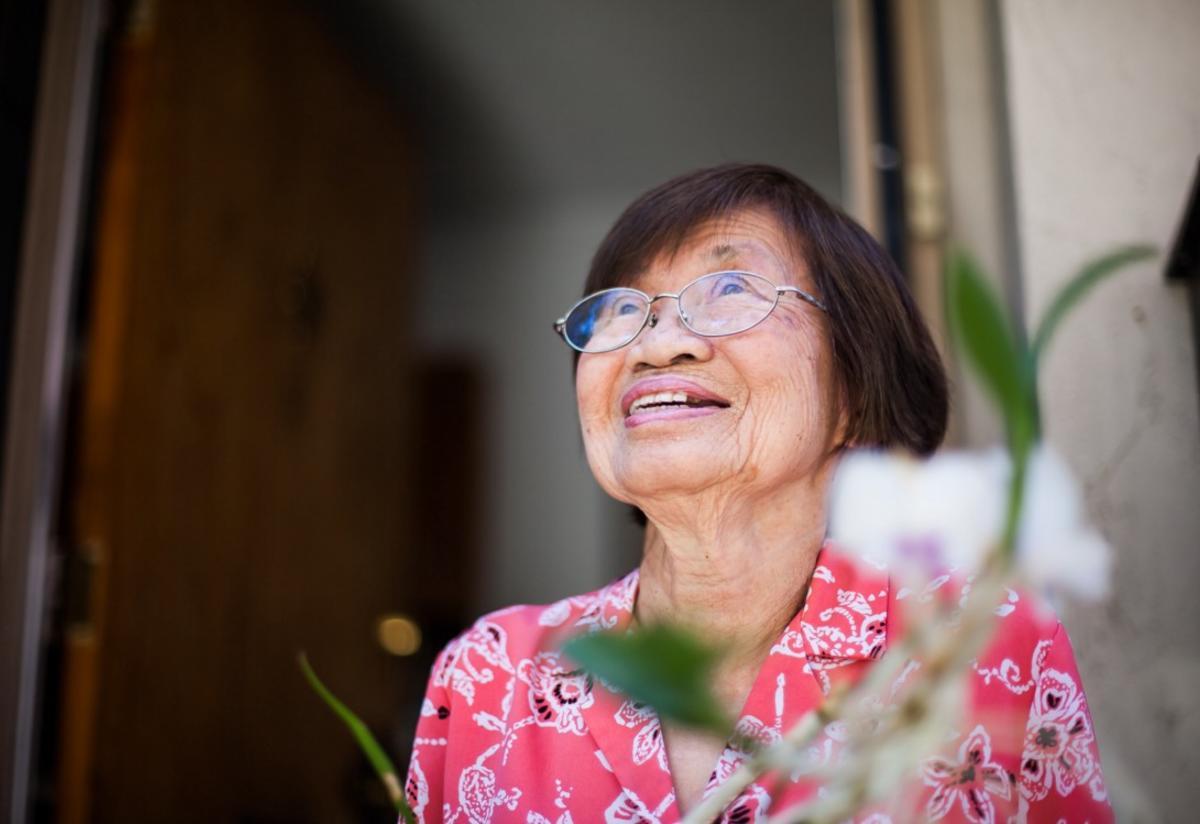 Lieu Thi Dang outside her home in San Jose, California