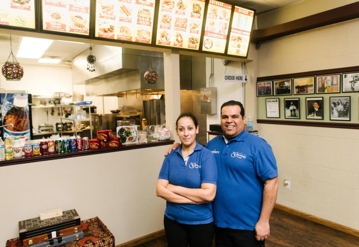 Salam Bunyan and his wife Aseel in their Middle Eastern restauarant in Boise