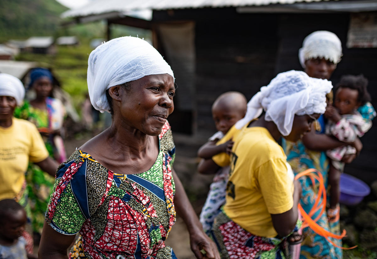 Women in an area of the Democratic Republic of Congo affected by an Ebola outbreak