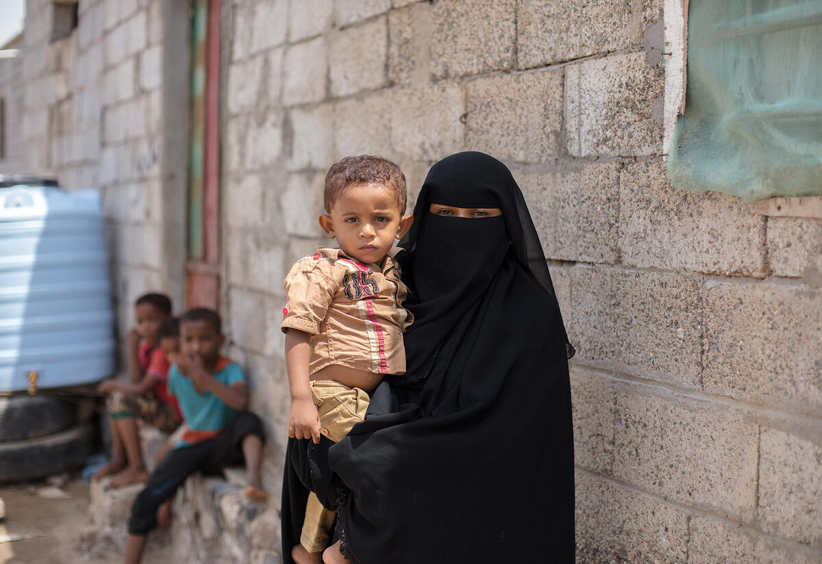 A mother and child in Yemen whose family is being treated by the IRC for malnutrition.