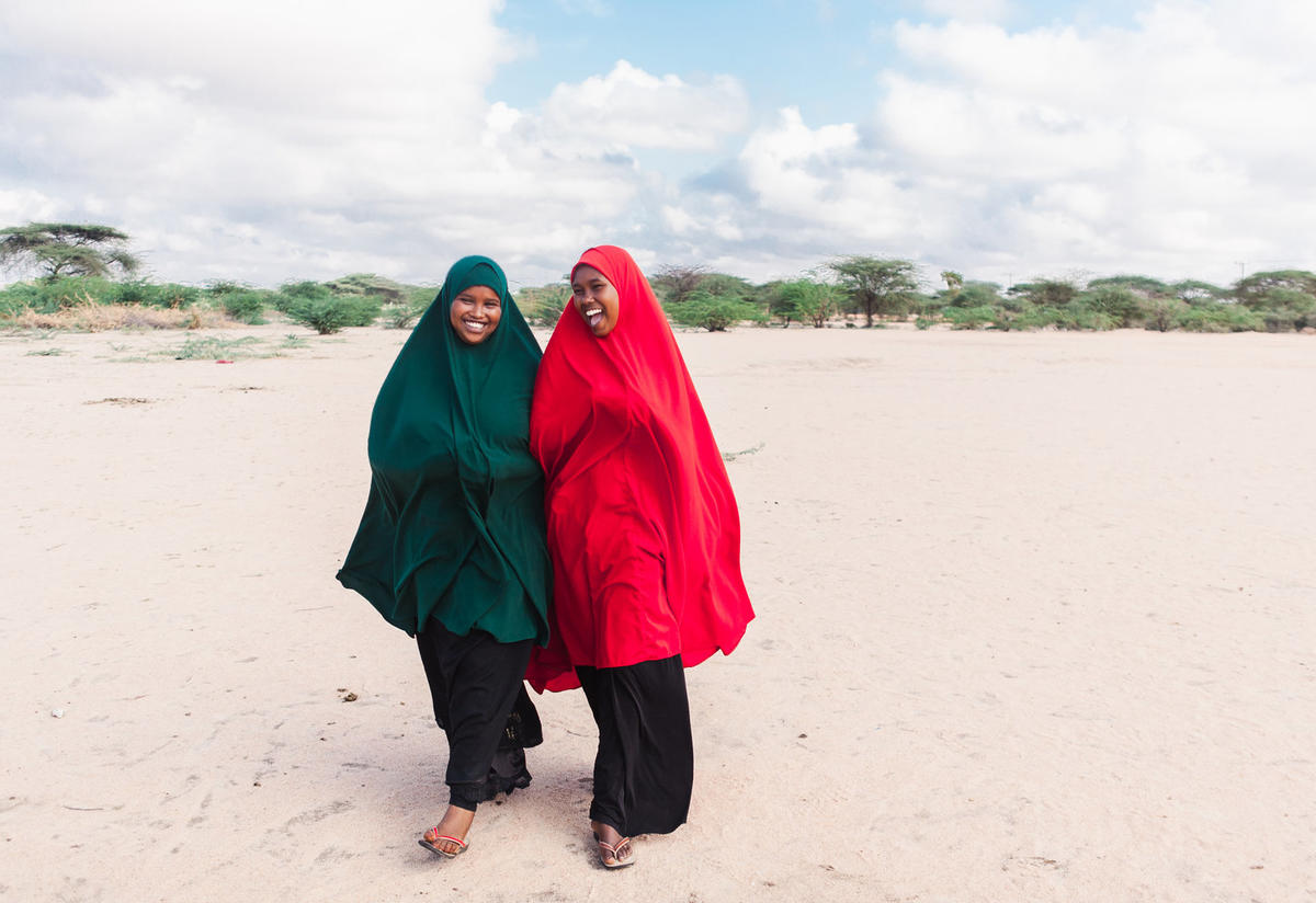 Nasro walking with her friend in Dadaab refugee camp Photo: Martha Adams