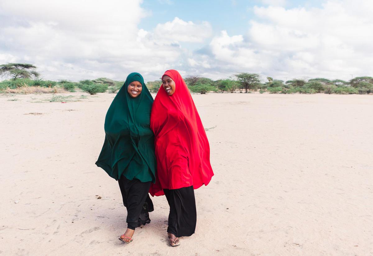 Nasro walking with her friend in Dadaab refugee camp Photo: Martha Adams