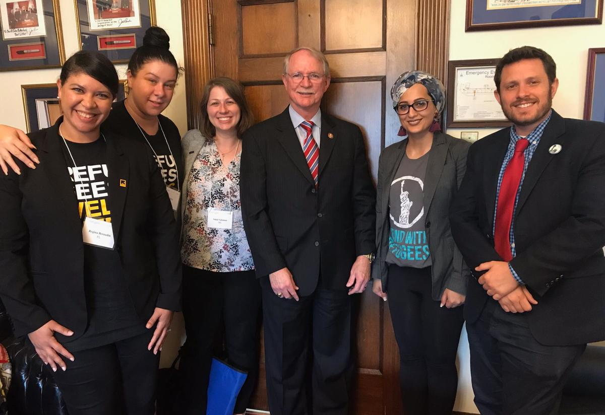 The Florida delegation—including IRC's Regina Bernadin and Una Bilic (left)—meet with Representative John Rutherford in Washington, DC.