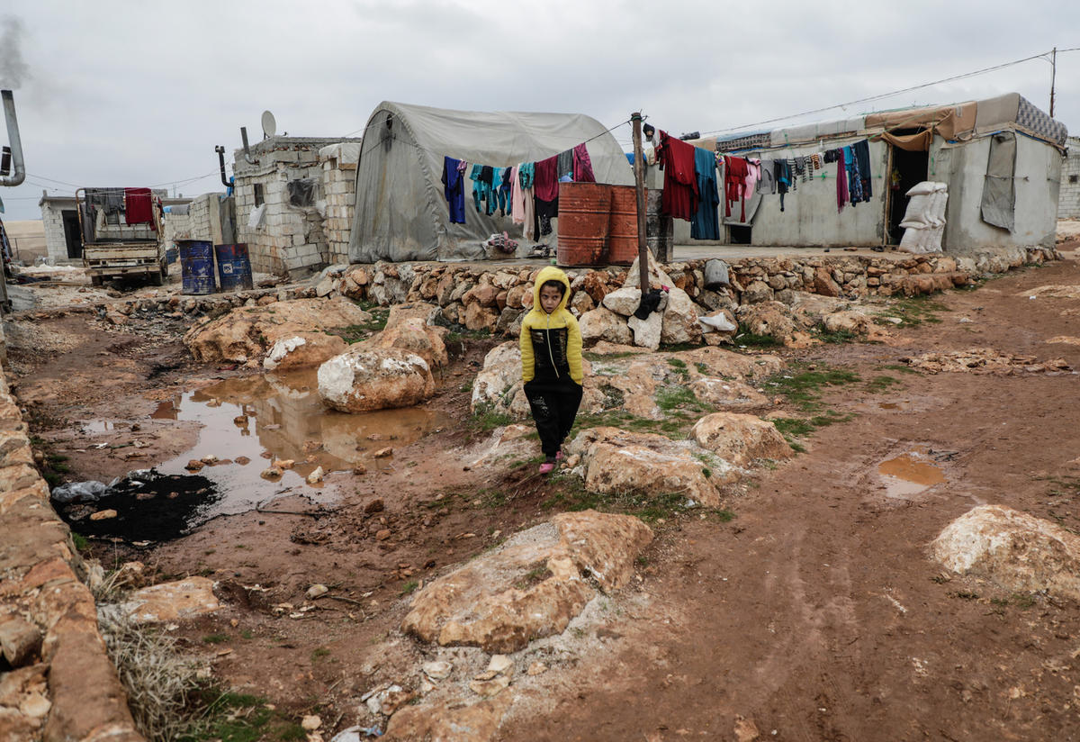 Displaced Syrian child in Idlib