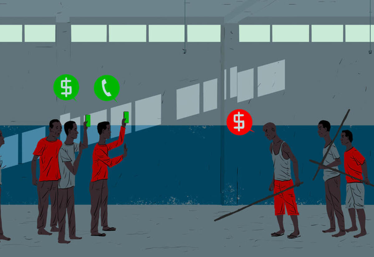 Two groups of men stand in a detention center facing off from one another. A group of three are holding sticks and a speech bubble has a $. The other group are holding phones with speech bubbles with the dollar sign and phones.