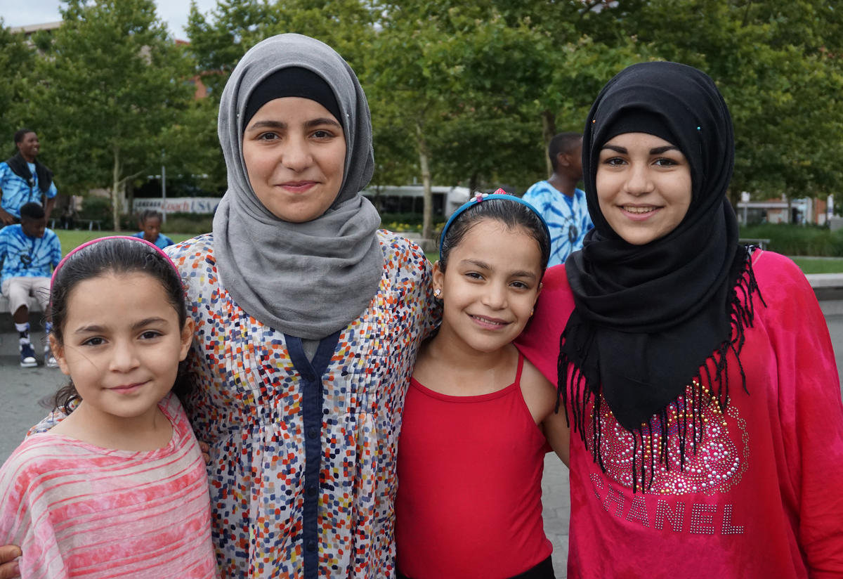 The daughters of family resettled in Baltimore from Syria