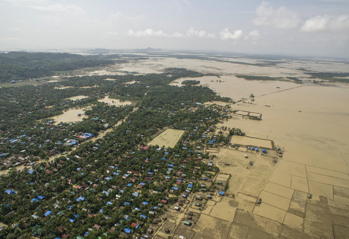 An aerial view of flooding in Myanmar that inundated homes and fields in the wake of Cyclone Komen in 2015.
