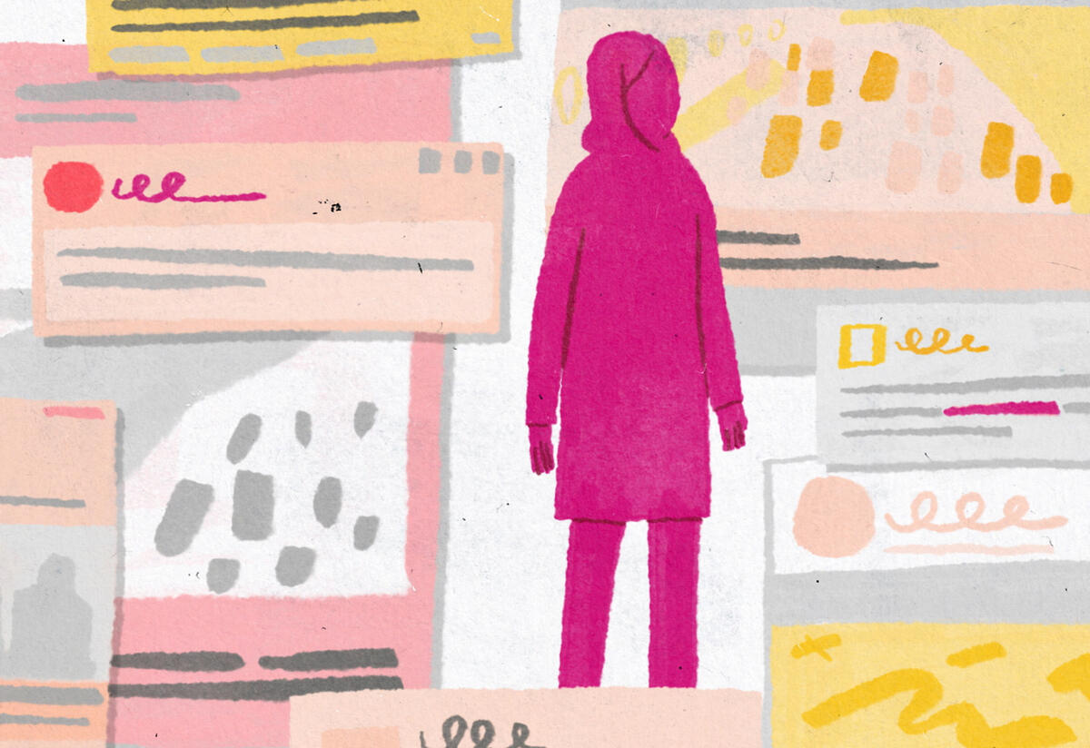 As a pink silhouette, an Afghan girl stands alone surrounded by news headlines.