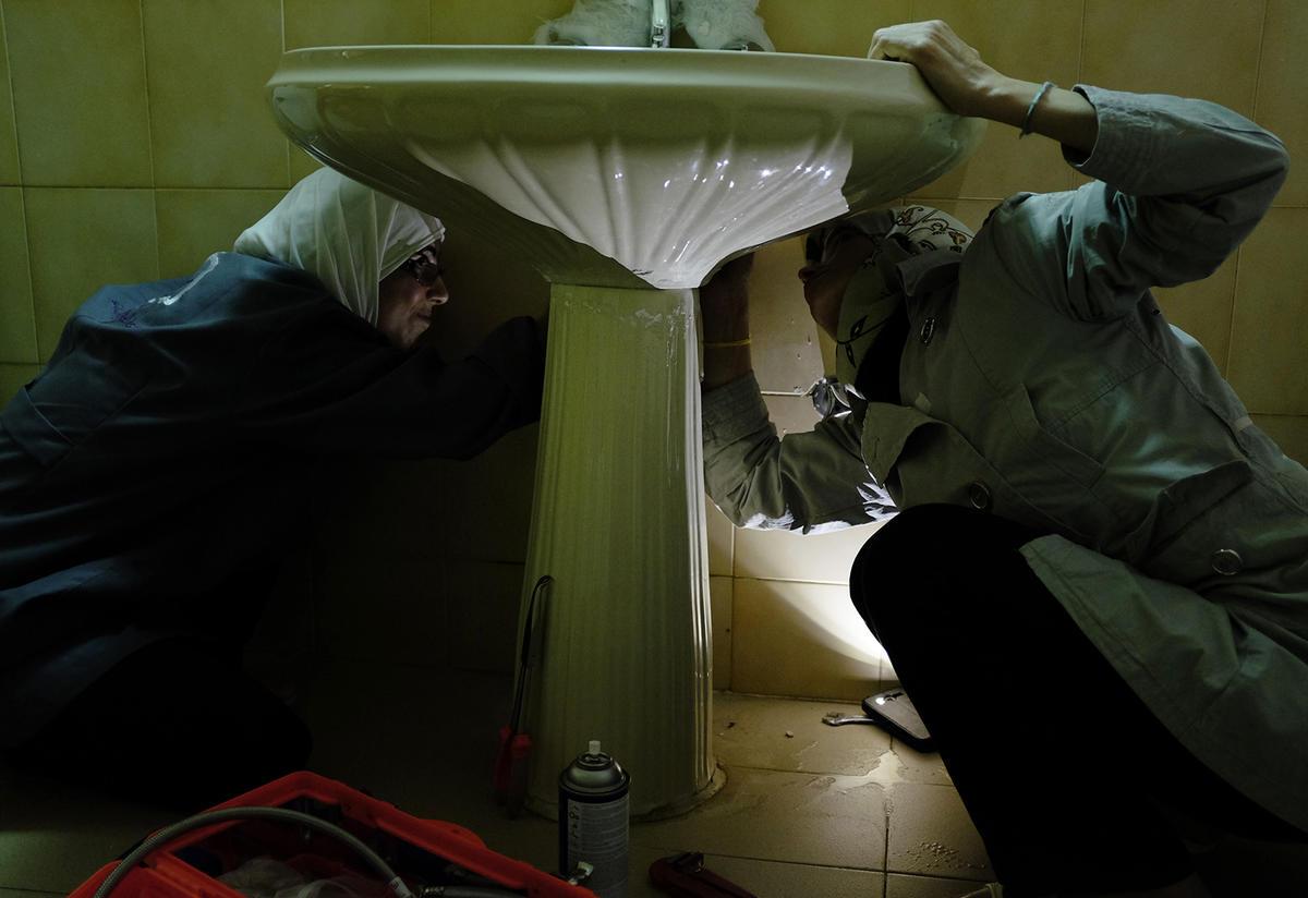 Safa'a and Hala run their own plumbing business in Irbid, Jordan