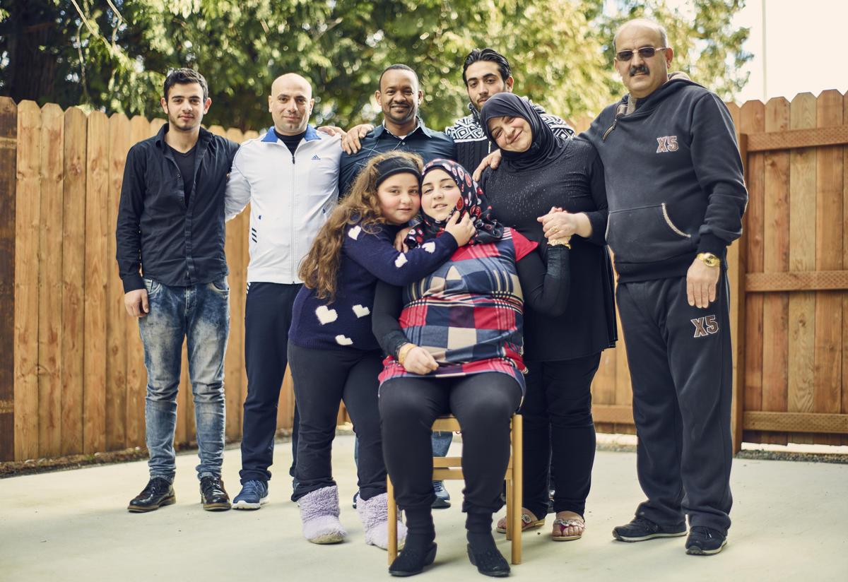 The Bazara family at their apartment in Tukwila, Washington
