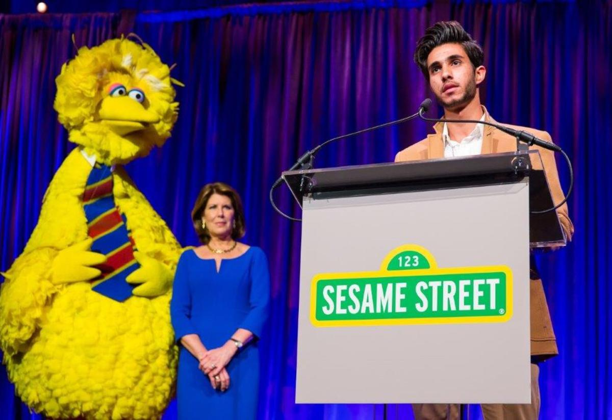 Big Bird, Sherrie Westin, and Ridha on stage during Sesame Workshop gala