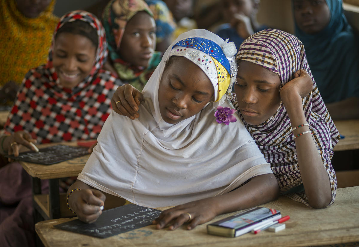 Two girls in a classroom in Niger