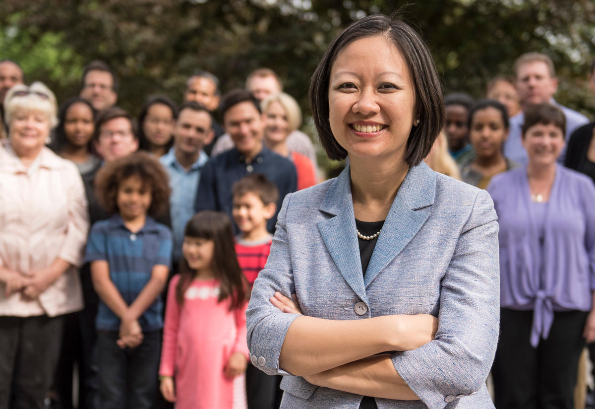 Candidate Kathy Tran with supporters in Virginia