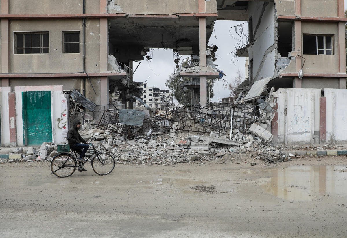 A bombed school in Douma, Eastern Ghouta.