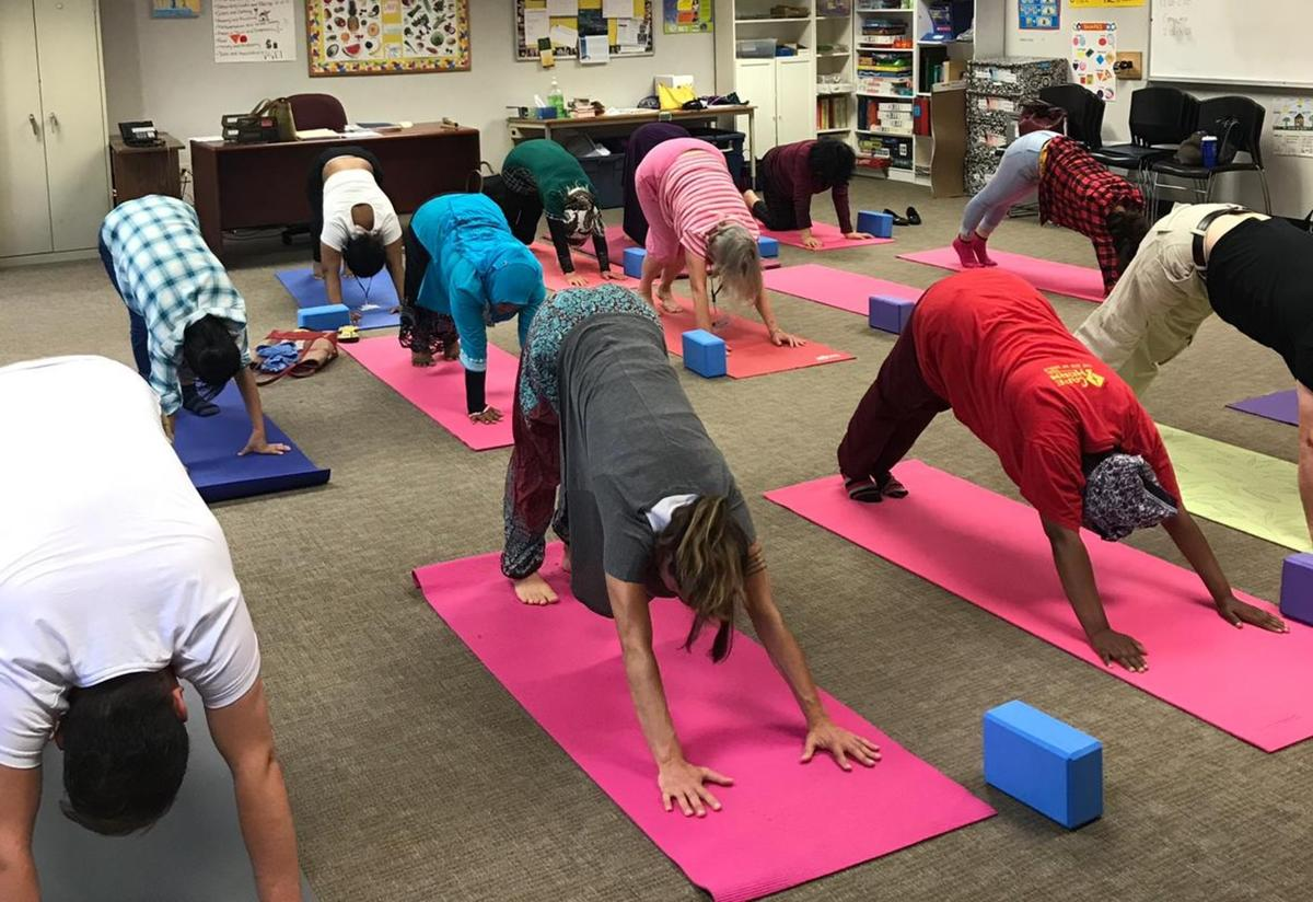 Adult yoga class at the IRC in Atlanta.