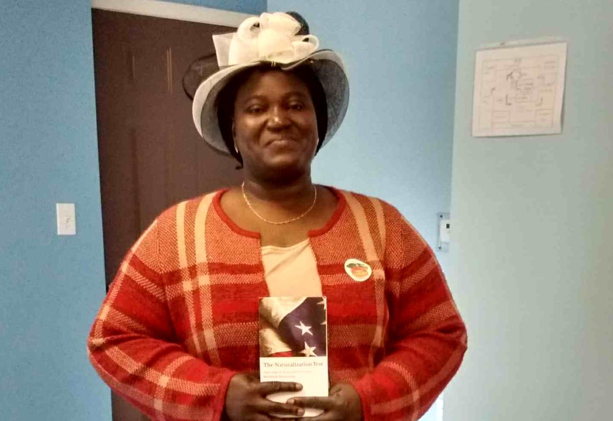 """Adjowa """"Posts the Peach"""" and proudly displays her early voting sticker!"""