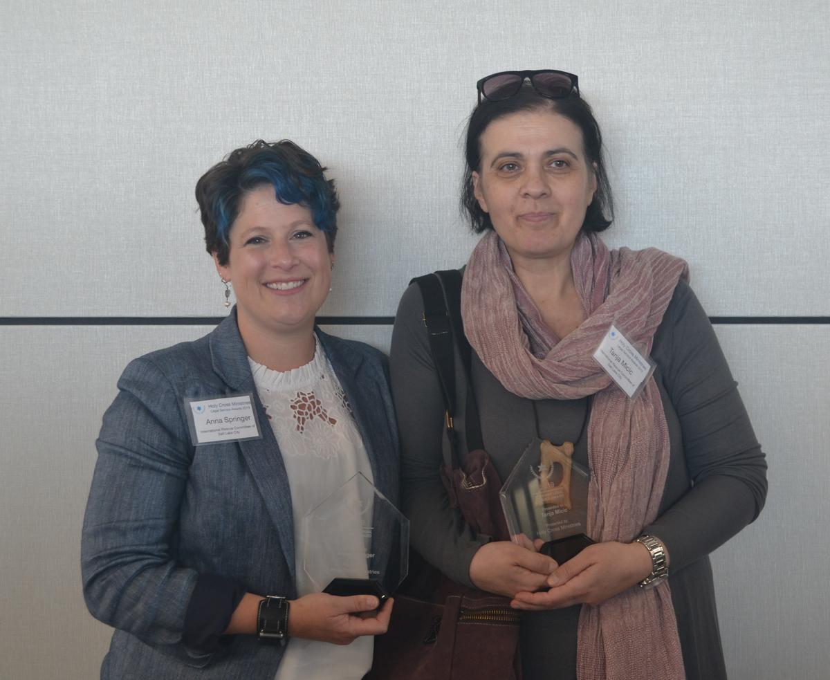 Anna and Tanja, immigration specialists at the International Rescue Committee in Salt Lake City were presented an award for the immigration services they provide to refugees, asylees and other immigrants.