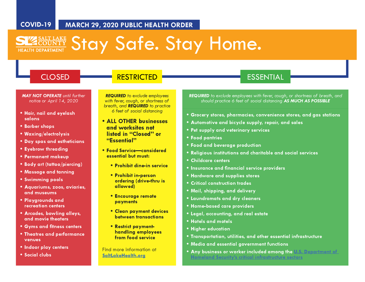 """Flyer of the """"Stay Safe. Stay Home."""" public health order guidelines issued by Salt Lake County."""