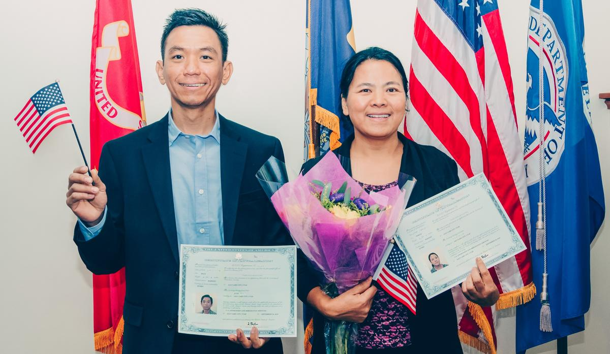 Aung and Sui, a refugee couple originally from Burma, photographed directly after their citizenship ceremony.