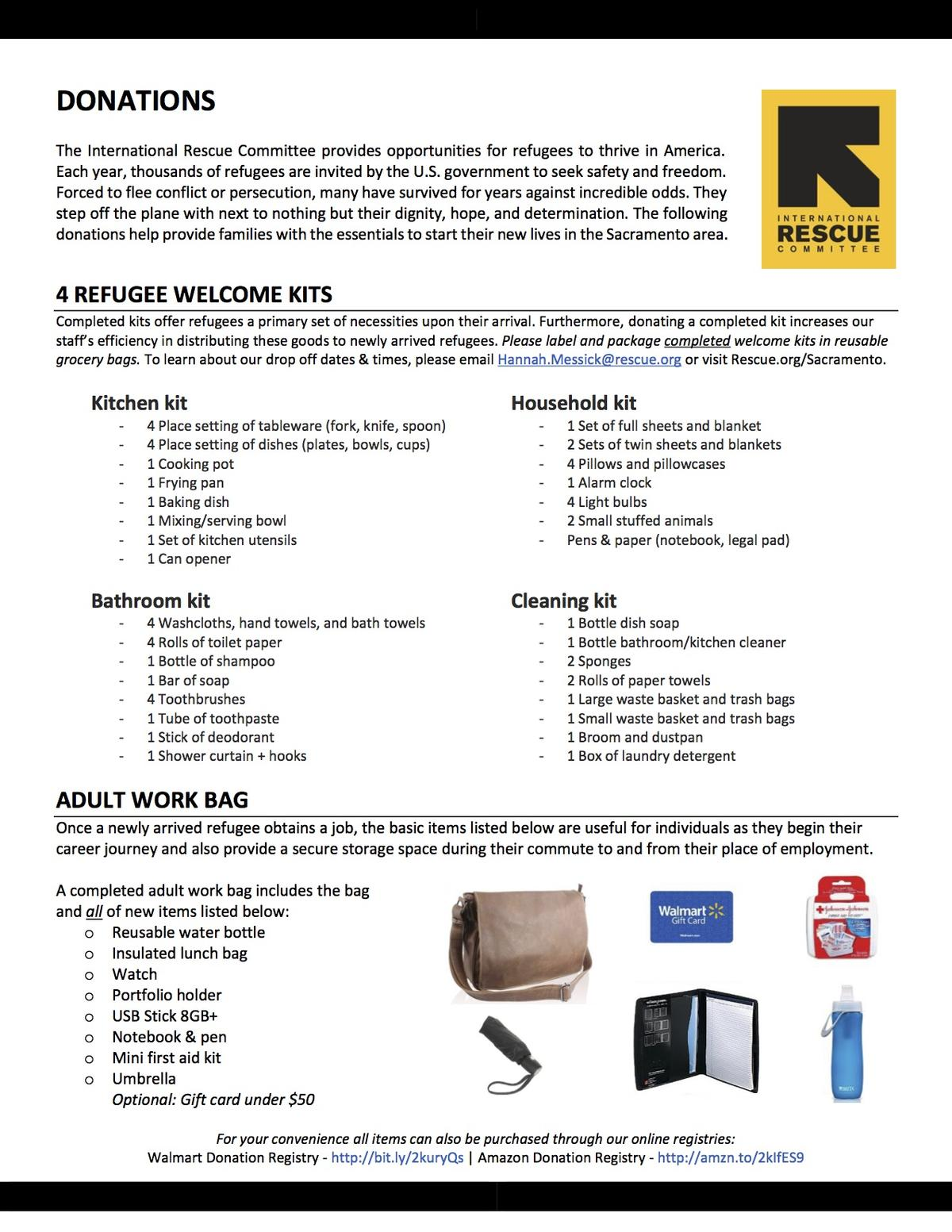 items needed for refugees in sacramento international rescue the irc will only take items that are in new or like new condition all items will be inspected upon drop off and each office retains the right to refuse