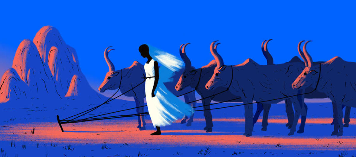 Illustration of a a girl standing tethered with cows
