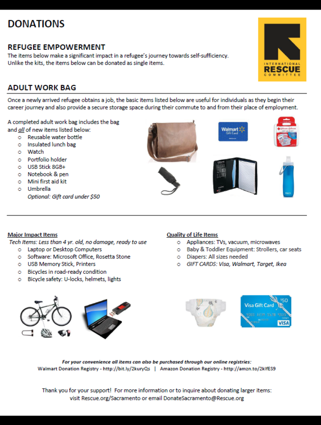 Items needed for refugees in Sacramento | International Rescue