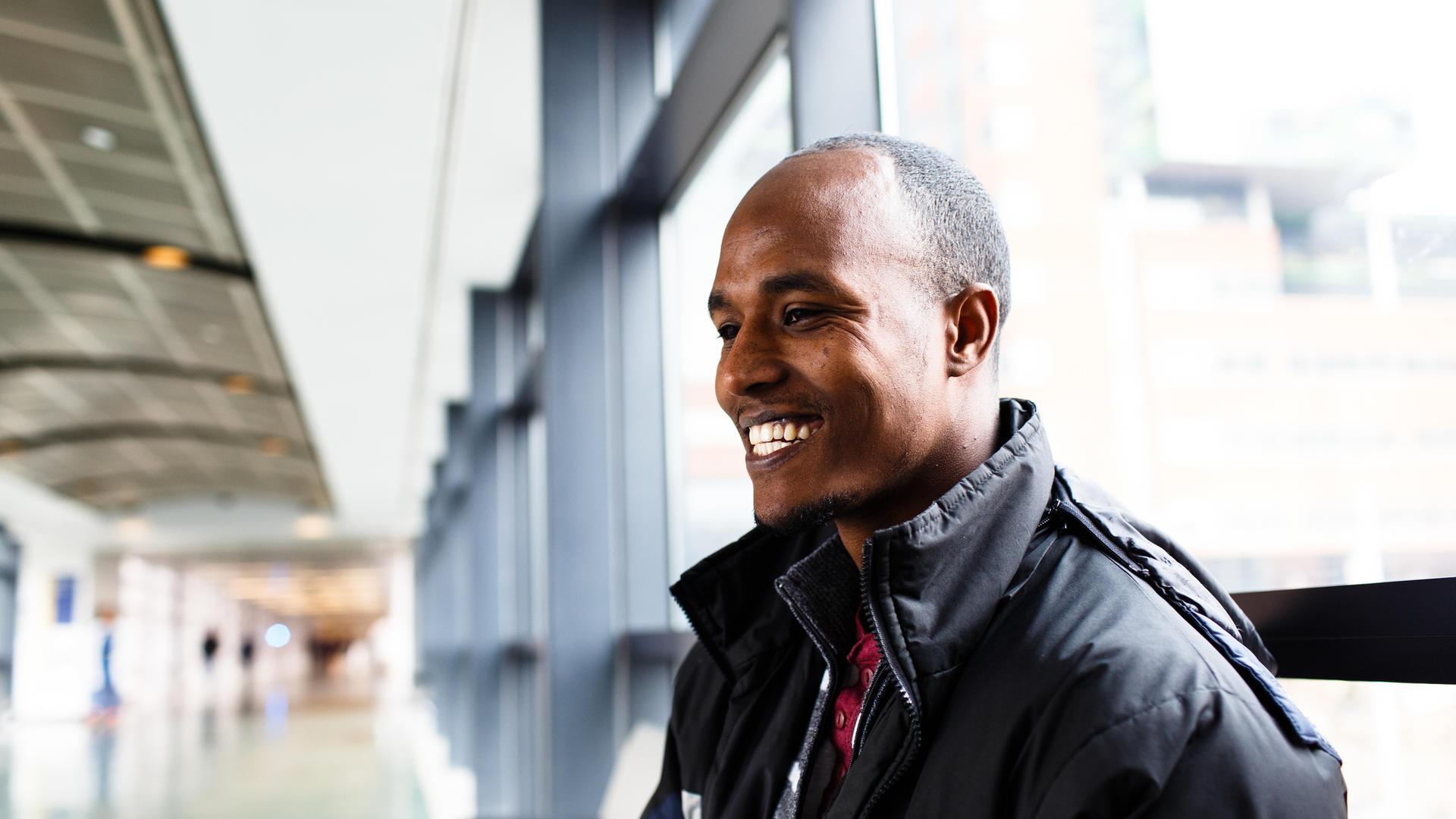 Mulu Bahre poses at John Hopkins Hospital in Baltimore